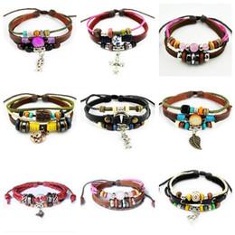 $enCountryForm.capitalKeyWord Canada - New arrival Love leather natural handmade leather bracelet beaded bracelet FB225 mix order 20 pieces a lot Charm Bracelets