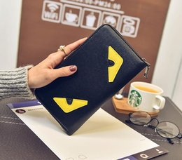 Small black leather coin purSe online shopping - Evil Eye Monster Pattern cool Girl Fashion Coin Purse Small Wallet Mini Key Storage Bag PU Leather Women Casual Zipper Pouch Nylon Pockets