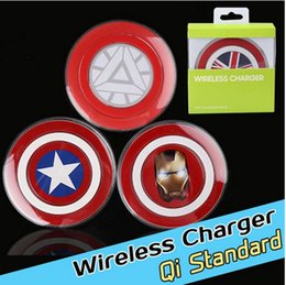 Wholesale Qi Standard Wireless Charger Charging Pad for Samsung s6 s7 edge Avengers Captain America Shield Qi abled Adapter Chargers with Retail Box