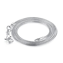 $enCountryForm.capitalKeyWord UK - 1.2MM 925 Silver Smooth Snake Chain Necklace Lobster Clasps Chains Jewelry 100pcs Fashion Women Necklaces Size16 18 20 22 24inch