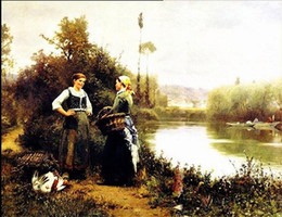 $enCountryForm.capitalKeyWord NZ - Framed daniel ridgway knight - on the way to market two women by river,pure Hand Painted Art Oil Painting Canvas.Multi sizes P0043