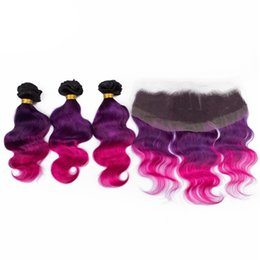 $enCountryForm.capitalKeyWord NZ - Cheap ombre hair extension with lace frontal Brazilian ombre hair weave 1b purple pink three tone color human hair wefts with frontal