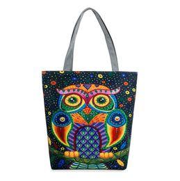 Women Cartoon Canada - Women Canvas Beach Bag Cartoon Owl Printed Casual Tote Daily Use Single Shoulder Shopping Bags Female Canvas Handbag