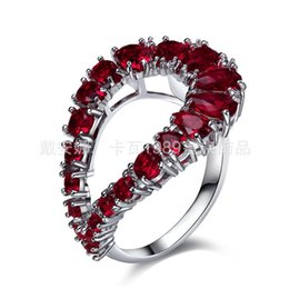 Hollow Fingers NZ - Hollow Heart Finger Ring For Bridal Rhodium Plated With Drop Shape Women Cubic Zircon Ring Wedding Party Fashion Fine Jewelry