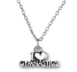 jewelry gymnastics Australia - 20pcs lot Antique Silver Plated I Love Gymnastics Message Charm Fitness Necklace For Jewelry Making