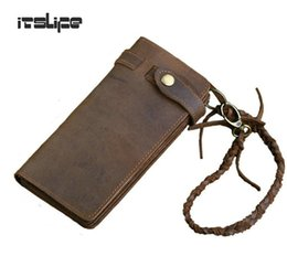 $enCountryForm.capitalKeyWord Canada - Wholesale- Designer Chain Leather wallet, long style Crazy Horse Natural Cowhide Vintage Waxed Leather Purse,with handmade woven rope,brown