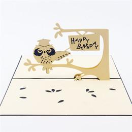 $enCountryForm.capitalKeyWord Australia - Hallow Out 3D Pop UP Card Creative Owl Handmade Paper Art Carving Birthday Gift&Greeting Cards 10pcs lot