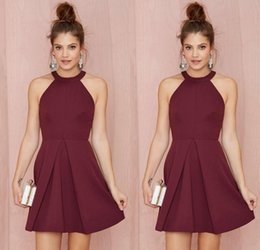 China Sexy Short Burgundy Cocktail Party Dresses Halter Backless A Line Above Knee Length Prom Gowns Custom Made Women Formal Homecoming Dress supplier coral above knee dresses suppliers