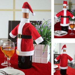 Christmas Tables Canada - Christmas Gift Decoration Wine Bottle Cover Bags Santa Claus Dinner Table Decoration Clothes With Hats Drop shipping