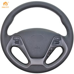 Genuine Leather Steer Covers NZ - Mewant DIY Black Genuine Leather Car Steering Wheel Cover for Kia K3 2013 K2 Rio 2015 2016 Ceed Cee'd 2013 2014 Cerato 2013-2015