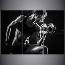 art bodybuilding 2019 - HD Printed 3 Piece Canvas Art Open Sexy Girl Photo Dumbbells Fitness Painting Bodybuilding Wall Pictures Free Shipping c