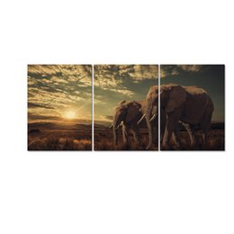 Elephant Panel Art UK - Animal Canvas Printing Big Elephant HD Canvas Prints Canvas Art for Home Decor Wild Life Prints 3 Panels