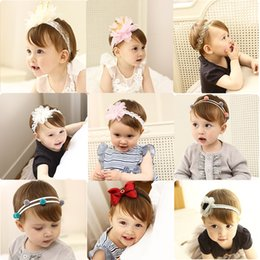 Wholesale Baby lace chiffon flower Headbands Newborn girls Pearl Flower ball hairbands Kids Infant children bowknot wave tiara hair accessories SEN259