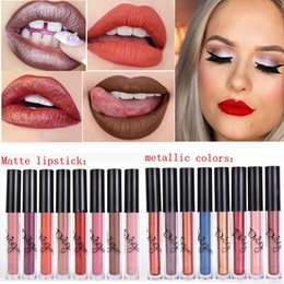 Dark Blue Lipstick Wholesale Canada - Famous Brand 16 colors Waterproof lip gloss Matt Liquid Lipstick and Metallic Lip Gloss Koko Kourt Dolce Sexy Makeup Cosmetic Free Shipping