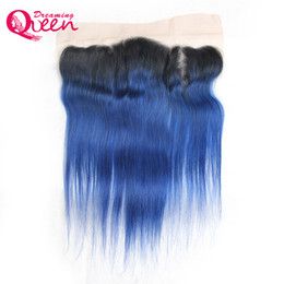 $enCountryForm.capitalKeyWord UK - T1B Ocean Blue Color Lace Frontal Closure Ombre Brazilian Virgin Human Hair 13X4 Ear to Ear Lace Closure Pre-plucked Frontal Straight Hair