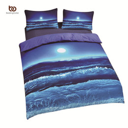 Discount california king beds - Wholesale-Cheap Moon And Ocean Bedding Cool 3D Print Home Textiles Soft Blue Bed Spread Twin Queen King