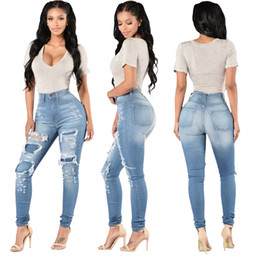 Barato Mais Tamanho Calças De Levantamento-Hot Fashion Women Plus Size Denim Jeans S-XXXL Sexy Ladies Ripped Vintage Butt Lifting Skinny Pants Wash Denim Patchwork Jeans