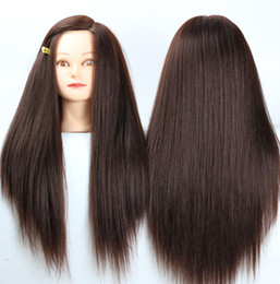 """Hairdressing Dolls Canada - 24"""" Brown Yaki Synthetic Mannequin Head Hair Maniqui Hairdressing Doll Heads Maniquies Women Educational Training Hairdresser + Clamp"""