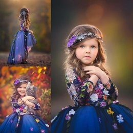 Vestido Azul Colorido Chica Baratos-Midnight Blue Flor Girl Vestidos Colorido Floral Applique Lace manga larga Girls Pageant Vestido elegante Tulle Hi-Lo Flor Girl Dress