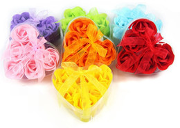 Soap For Gifts Shapes NZ - High Quality Mix Colors 600pcs Heart-Shaped Rose Soap Flower For Romantic Bath Soap Valentine's Gift