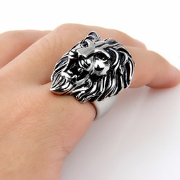 stainless steel lion rings Canada - Men's Stainless Steel Punk Cool Design Lion Head Ring Silver Size 7-15 Avivahc 175