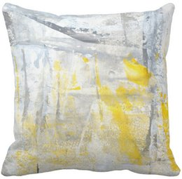 "$enCountryForm.capitalKeyWord NZ - Throw Pillow Case'Abstraction' Grey and Yellow Abstract Art Square Sofa Cushions Cover, ""16inch 18inch 20inch"", Pack of X"