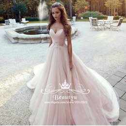 blush bohemian beach wedding dresses 2017 modest cheap plus size a line lace belt long tulle country bridal gowns for wedding party