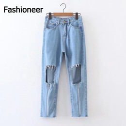 Señoras Pantalones Vaqueros Lavado Baratos-Fashioneer Jeans For Women Hole Denim Alta Cintura Cremallera Washed Tassel Algodón Larga Verano Denim Pantalones Vaqueros Para Señora Mujer S-L Tamaño Azul