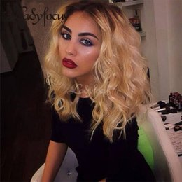 $enCountryForm.capitalKeyWord Australia - Pre Plucked Blonde Full Lace Human Hair Wigs With Baby Hair Blonde Natural Wave Lace Front Bob Wig For Black Women