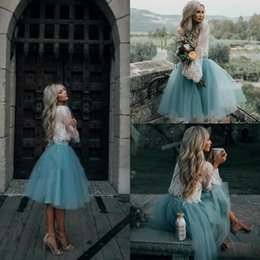 $enCountryForm.capitalKeyWord NZ - Plus Size Knee Length Two Pieces Prom Dresses Lace Evening Dresses Layers Light Sky Blue Mini Tulle Tutu Skirt Party Gowns