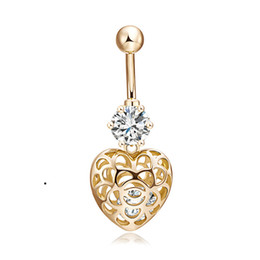 Wholesale hot sexy pierced girls for sale - Group buy Belly Button Rings NEW Fashion Top Quality Sparking Holow Heart Navel Piercing Body Jewelry Sexy CZ Belly Piercing for Hot Girls