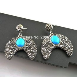 Blue Copper Turquoise Earrings Canada - Charms 3pair Turquoise With Crystal Rhinestone Paved Crescent Shape Dangle Earrings