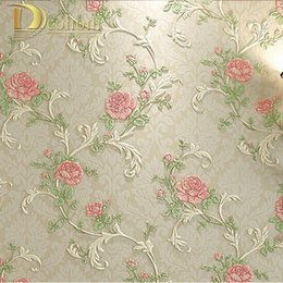 Wholesale  High Quality 3D Solid Pastoral Flowers Wallpaper Roll For Living  Room Girlu0027s Bedroom TV Sofa Background Walls Wall Paper R441