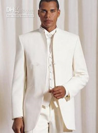bm jackets UK - Stand Collar Ivory Groom Tuxedos Groomsmen Men Wedding Suits Best man Suits Prom Clothing (Jacket+Pants+Vest+Tie) BM:697