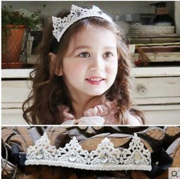 Big Wedding Hair Canada - Lace With Big Crystal Girls' Head Pieces Children Hair Flower girls Christmas party Wedding Hair Accessories Jewelry 2017 Hot Sale