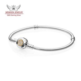 silver tone snake chain bracelet NZ - Moments Two Tone Bracelet with P Signature Clasp bracelets with 14K gold fit 925 sterling silver charms bracelet DIY Memnon jewelry YL036