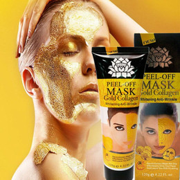 wholesale 24k gold skin care Canada - 24K Gold Collagen Peel off Mask Face Lifting Firming Skin Anti Wrinkle Anti Aging Facial Mask Face Care Whitening Skin Care mask Collagen Fa