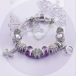 $enCountryForm.capitalKeyWord NZ - Fashion 925 Sterling Silver Purple Crystal Murano Lampwork Glass & Crystal European Charm Beads Fits Pandora Charm Bracelets & Necklace
