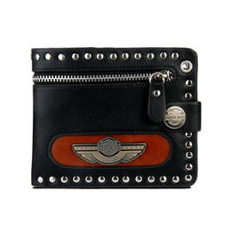 mens fashionable fashion zipper short section of the new cowhide rivet purse personalized punk buckle wallet cheap personalized credit cards holder - Personalized Credit Cards