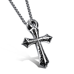 Chinese  Vintage Biker Solid 316L Stainless Steel Crucifix Cross Pendant Necklace for Men Silver High Polish Punk Rock Mens Personality Jewelry manufacturers