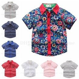 Floral Print Shirts Baby Canada - Boys Shirts Baby Bow Ties T Shirt Kids Cotton Summer Tops Fashion Striped Tees Floral Printed Star Dotted Clothing Short Sleeve Pocket H582