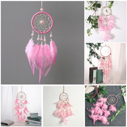 Discount kind beads - 6 styles Pink Wind Chimes Handmade Dreamcatcher Circles Net with Feathers Beads Car Hanging Wedding Decoration Craft Gif
