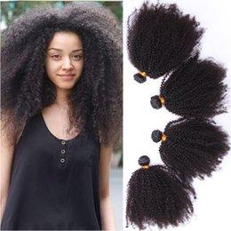 Afro Kinky Human Hair Virgin NZ - 4 Pieces Lot Afro Kinky Curly Human Hair Weave Bundles Mongolian Virgin 4B 4C Afro Kinky Curly Hair Weft