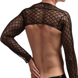 black gauze t shirt Australia - Sheer Nylon Mens Sexy Long Sleeve Breathable Mesh T-Shirts Sexy Gauze Transparent Undershirts Sexy Underwear(ONLY Tank top )