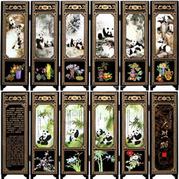 $enCountryForm.capitalKeyWord Australia - Antique lacquer wooden decoration Chinese small screen special gifts to send foreigners gifts six panda fan
