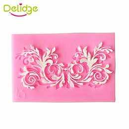 silicone mold cake leaf NZ - Delidge 20 pcs 3D Leaf Lace Fondant Cake Mold Silicone Hollow Leaf Fondant Mold Square Hollow Flower Leaf Cake Decoration Mould