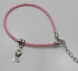 Wholesale 100pcs Hope Breast Cancer Awareness Ribbon Charm Pendant Leather Rope Cham Bracelet Fit for European Bracelet Handmade Craft DIY