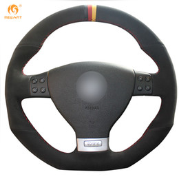 $enCountryForm.capitalKeyWord Canada - Mewant Black Suede Black Red Yellow Marker Car Steering Wheel Cover for Volkswagen Golf 5 Mk5 GTI VW Golf 5 R32