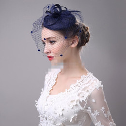 China Hot Sale Navy Blue Black Beige Birdcage Net Wedding Bridal Fascinator Face Veils Feather Flower with Hairpins 4 Colors cheap black blusher veil suppliers