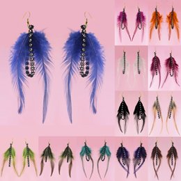 Light Green Colors Canada - Feather Earrings 12 Colors wholesale lots Cute Unique Charm Chain Light Dangle Eardrop ( White Black Beige Brown Blue Green Orange ) (JF122)